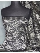 Lace Non-Stretch Fabric- Black/Antique Gold Floral Q119 BKGLD