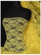 Bright Yellow Flower Stretch Lace Fabric