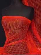 Fire Red Tie-Dye Fishnet Stretch Material