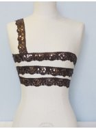Brown Sequin Scalloped Edging Stretch Lace Trim