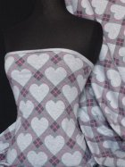 Viscose Cotton Stretch Fabric- Grey Heart Print Q694 GR