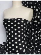 Polar Fleece Anti Pill Washable Soft Fabric- Black/White Polka Dots Q44 BKWHT