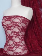 Flower Stretch Lace Fabric- Red Wine Q137 RDWN