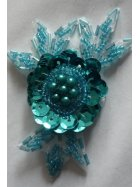 Sequin Iron On Motif- Turquoise Blue EM1 TQBL