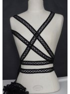 3 Metres Criss-Cross Ribbon Trim- Black SY47 BK