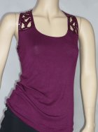 Sequin Racer-Back Aubergine Vest Top