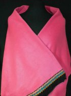 Cerise Pink Polar Fleece Shawl With Aztec Fringe Trim