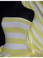 Cotton Lycra Jersey 4 Way Stretch Fabric - Yellow/White Horizontal Stripe Q1243 YLWHT