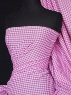 "Poly Cotton Material- Cerise Gingham 1/4"" Q562 CRS"