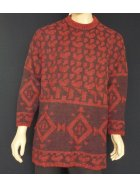 MEN'S Dark Red Pure Vintage Wool Abstract Jumper