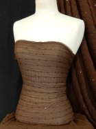 Crinkle Chiffon Sequin Sheer Fabric- Brown SQ28 BR