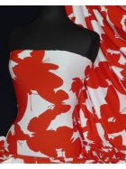 Viscose Cotton Stretch Fabric- Red/White Butterfly Q1314 RDWH