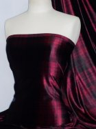 Red Wine Tartan Velvet Spandex Fabric