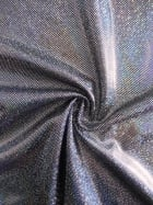 Hologram Sheen Foil Spandex Stretch Fabric- Silver HMLYC203 BKSLV