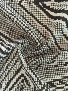 Chiffon Soft Touch Sheer Fabric- Diamond Maze Black/Ivory CHF224 BKIV