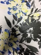 Chiffon Soft Touch Sheer Fabric - Blue/Yellow Lilies CHF228 BLYLBK