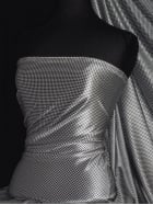 Velvet Spandex Fabric Luxuriously Soft Velvet Material- Black/White Houndstooth PVEL245 WHTBK