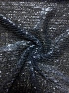 Showtime Fabric All Over Stitched Sequins Pleated Mesh- Navy Glitz SEQ60 NY