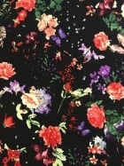 French Crepe Fabric- Floral Forest Black/Multi CRP1 BKMLT