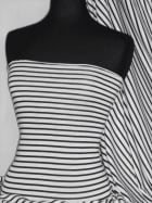 Clearance 100% Viscose Stretch Fabric- Horizontal Stripe Black/White (Q1312 BKWHT)