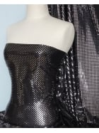 Lycra Stretch Material- Silver Sequins on Black Q38 SLVBK
