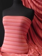 100% Viscose Stretch Fabric Material- Stripe Coral Q240 CRL