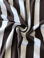 Poly Viscose Stretch Fabric- Brown/White Stripe SQ261 BRNWH