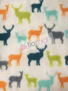 20 METRES Polar Fleece Anti Pill Washable Soft Fabric Wholesale Roll- Deers Ivory/Multi JBL250 IVMLT