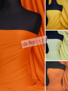 25 METRES Cotton Lycra Jersey 4 Way Stretch Fabric Wholesale Roll- Orange/Yellow Shades JBL337