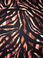 25 METRES Georgette Crepe Sheer Fabric Wholesale Roll- Black/Rust Animal Print JBL340