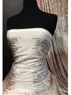 Showtime Sequins All Over Stitched Fully Lined Lycra Fabric- Rose Gold/White Ombre SQ417 PNWHT
