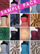 25 SAMPLE PACK- Slinky Shimmer Glitter 4 Way Stretch Fabric Q1183