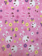 Polar Fleece Anti Pill Washable Soft Fabric- Bunnies Pink/Multi SQ425 PNMLT