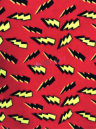 Polar Fleece Anti Pill Washable Soft Fabric- Lightning Bolts Red/Yellow SQ410 RD