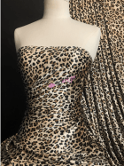 Velvet/Velour Spandex Stretch Fabric- Cheetah Stone/Camel SQ509 STN
