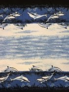 Polar Fleece Anti Pill Washable Soft Fabric- Border Print Dolphins Q1410 BLBK