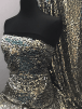 Showtime Heavy Two Tone Sequins Dress/Dance Fabric- Black/Gold SQ265 GLD