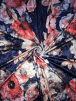 NEW Marble Printed Velvet/Velour Stretch Fabric- Royal Chelsea Floral SQ313 RBLMLT
