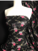 Bubble Crepe Woven Blouse/ Dress Fabric- Midnight Roses Black/Pink SQ441 BKPN