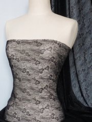 Lace Heart Stretch Fabric- Black Q413 BK