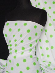 Poly Cotton Material- Lime Polka Dots Q708 LM