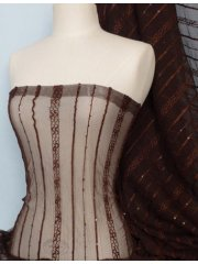 Brown Sequins Power Mesh Stretch Fabric