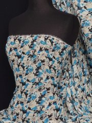 Chiffon Soft Touch Sheer Fabric- Blue Molly Floral Q482 BL