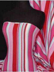 Soft Fine Rib 100% Cotton Knit Material- Red Multi Stripe RD-MLT