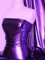 Wet Look Foil Stretch Lycra Fabric- Purple NG253 PPL