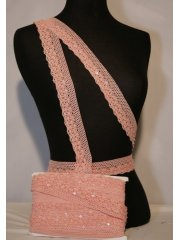 Baby Pink Sequin Cotton Crochet Trim