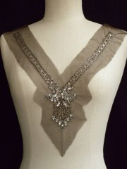Cocoa Brown Long Line Beaded Neck Piece