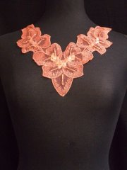 Coral Pink Flower Sequin Neck Piece