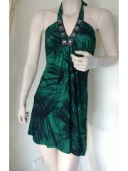 Little Green Jungle Print Halter-Neck Dress