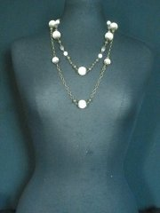 Matt Gold Pearl Beaded Necklace